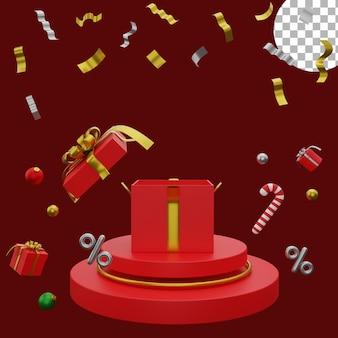 3d новогодний постер фон пост распродажа шаблон шары подарочная коробка подиум высокого качества
