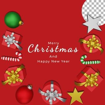 3d новогодний постер фон пост шаблон шары подарочная коробка высокого качества