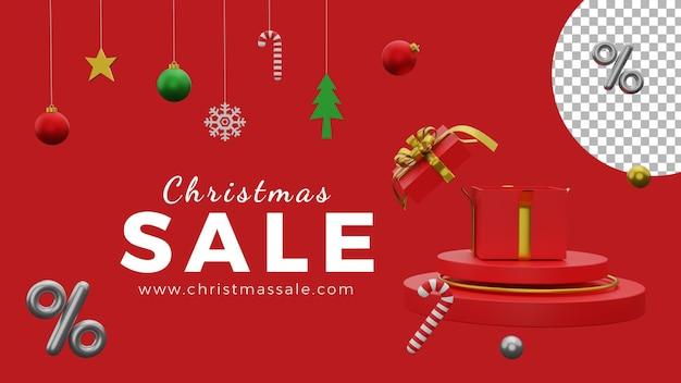 3d новогодний постер фон шаблон распродажа шары подарочная коробка подиум высокого качества