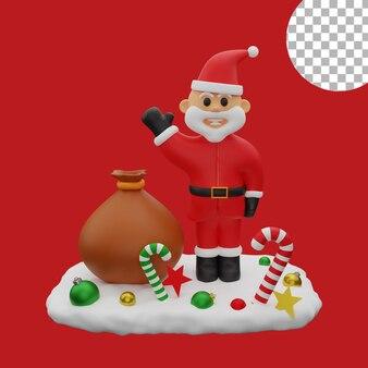 3d рождество санта клаус снежные шары подарочный пакет изолированных иллюстрация высокое качество