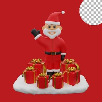 3d рождество санта клаус снежные шары подарочная коробка изолированных иллюстрация высокое качество