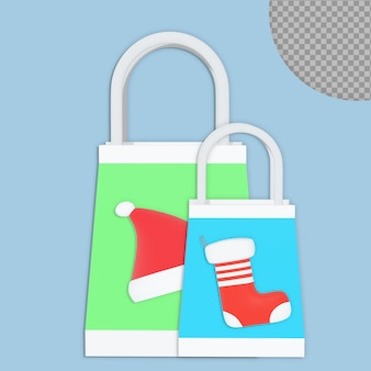 3d christmas shopping bag rendering design isolated