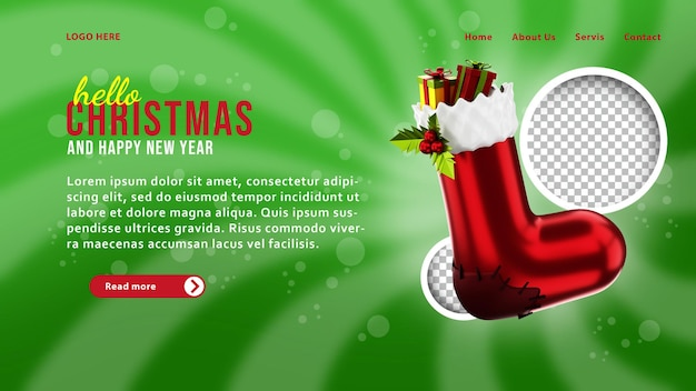 Шаблон целевой страницы 3d рождественские носки