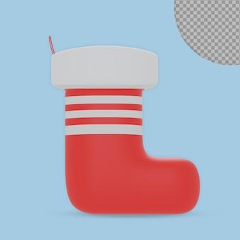 3d рендеринг рождественских носков дизайн изолированные