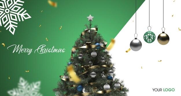 3d christmas tree mockup