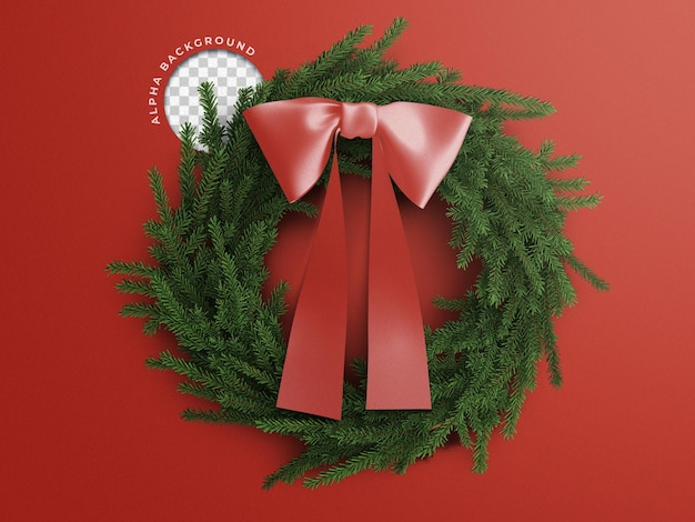 3d christmas wreath with ribbon scene creator element isolated