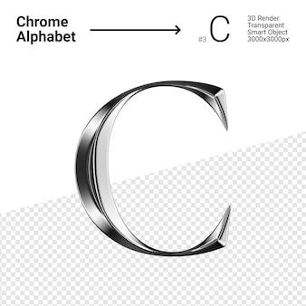 3d хромированная буква c алфавит
