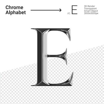 3d хромированная буква e с алфавитом