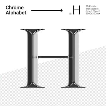 3d хромированная буква h с алфавитом