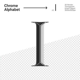 3d хромированная буква i с алфавитом