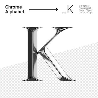 3d хромированная буква k с алфавитом