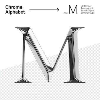3d хромированная буква m с алфавитом