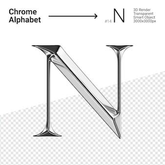 3d хромированная буква n об алфавите