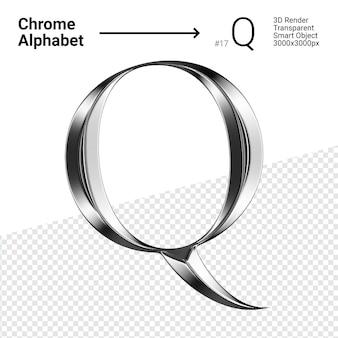 3d хромированная буква q алфавита