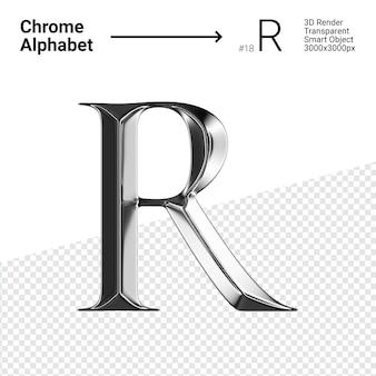 3d хромированная буква r с алфавитом