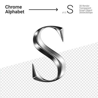 3d хромированная буква s с алфавитом