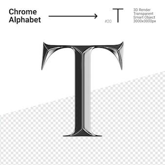 3d хромированная буква t алфавита