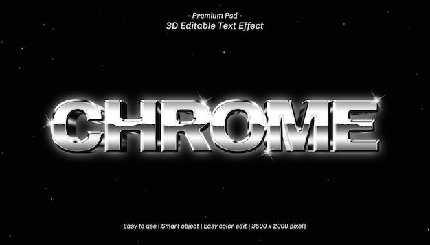 3d chrome editable text effect