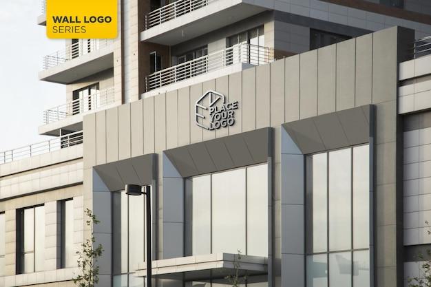3d chrome logo mockup office facade sign