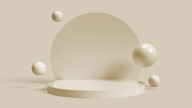 3d circular beige base for placing objects