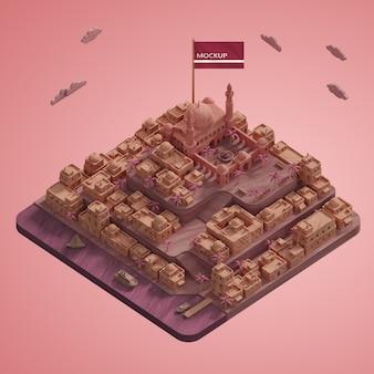 3 d都市のランドマークモデルのモックアップ