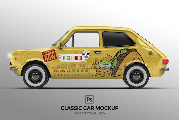 3dクラシックカーのモックアップデザイン