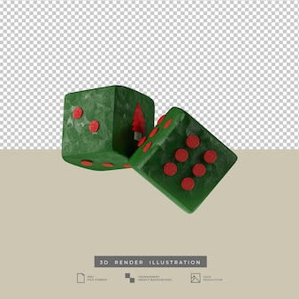 3d clay green dice with christmas tree illustration