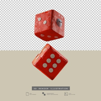 3d clay red dice with cute christmas snowman illustration