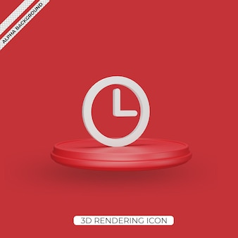 3d clock render icon isolated