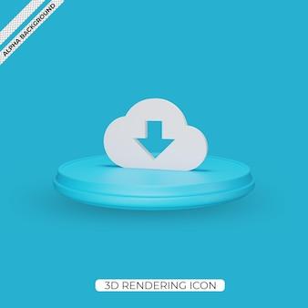 3d 클라우드 다운로드 렌더링 아이콘 디자인