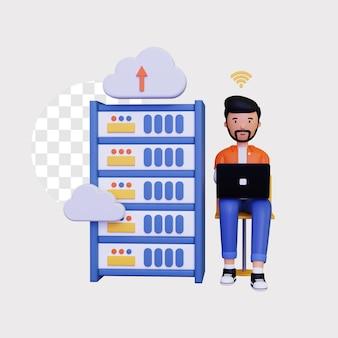 노트북을 사용하여 남성 캐릭터와 함께 3d 클라우드 호스팅