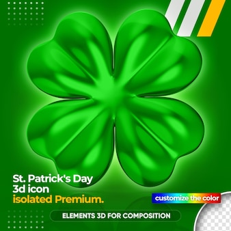 3d clover for st patrick's day rendering