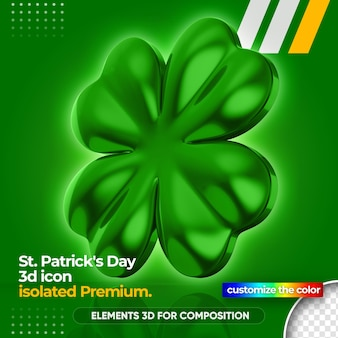 3d clover for st. patrick's day rendering