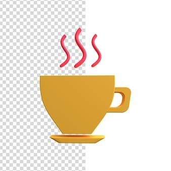 Значок чашки кофе 3d. иллюстрация чашки кофе 3d. 3d значок чашки чая