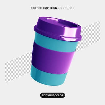 3d coffee cup icon isolated