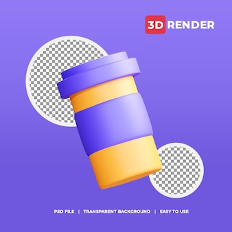 3d coffee cup icon with transparent background