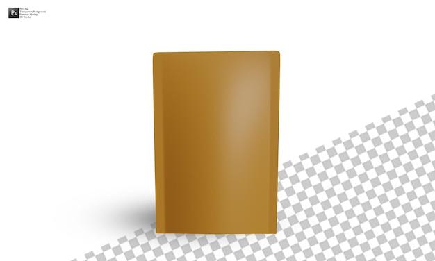 白い背景の上の3dコーヒーパックモックアップイラストデザイン