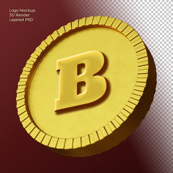 빨간색 배경에 고립 된 3d 동전 로고 모형
