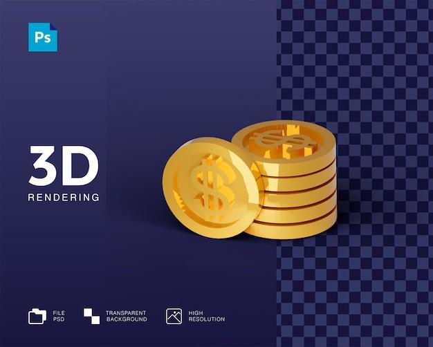 고립 된 3d 렌더링에서 3d 동전 돈 아이콘