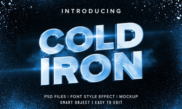 3d cold iron font style effect mockup