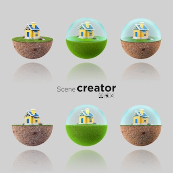 3d collection of floating island with small house