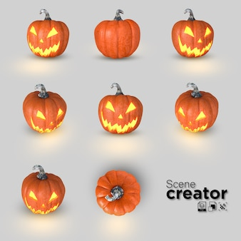 3d collection of halloween pumpkin jack o'lantern