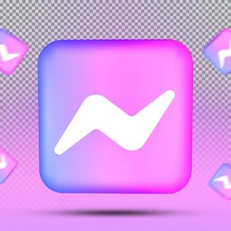 소셜 미디어 아이콘 템플릿 메신저의 3d 컬렉션