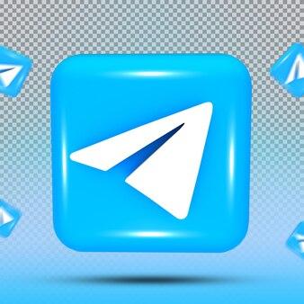 소셜 미디어 아이콘 템플릿 전보의 3d 컬렉션