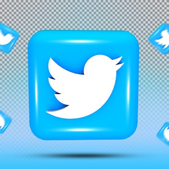 소셜 미디어 아이콘 템플릿 트위터의 3d 컬렉션