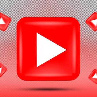 소셜 미디어 아이콘 템플릿 유튜브의 3d 컬렉션
