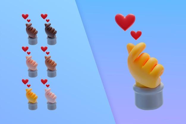 3d коллекция с сердечками из пальцев