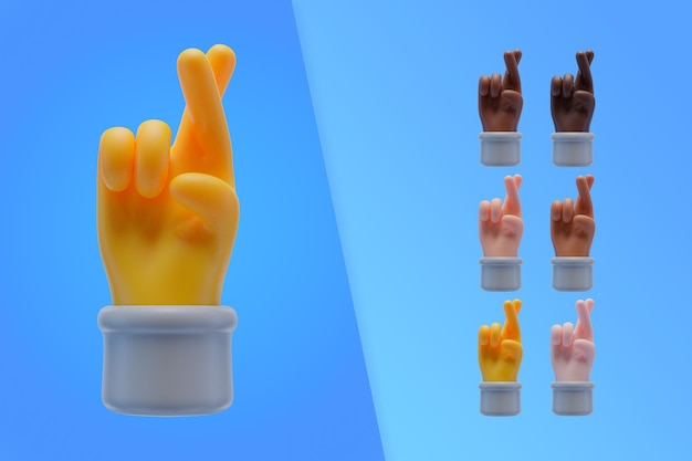 Raccolta 3d con le dita incrociate delle mani