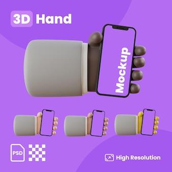 스마트폰을 들고 손으로 3d 컬렉션