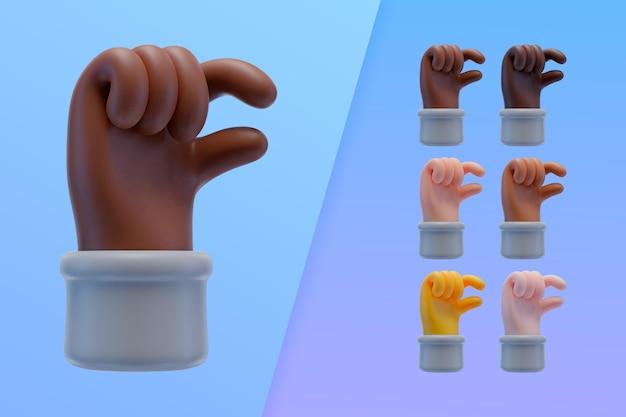 3d коллекция с руками, делающими маленький знак